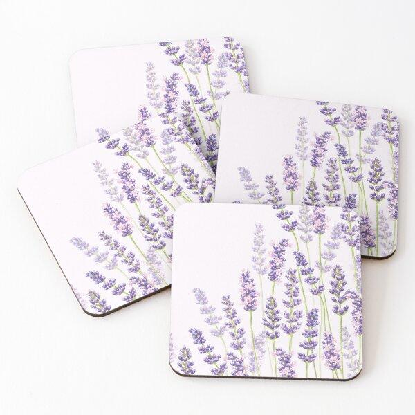 Lavender Fancy - Purple Flowers Coasters (Set of 4)