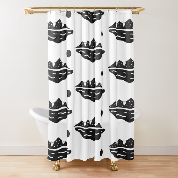 Mountain Mirage - B&W Shower Curtain