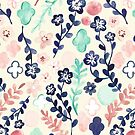 Scattered Floral in Navy, Teal & Pink by Tangerine-Tane