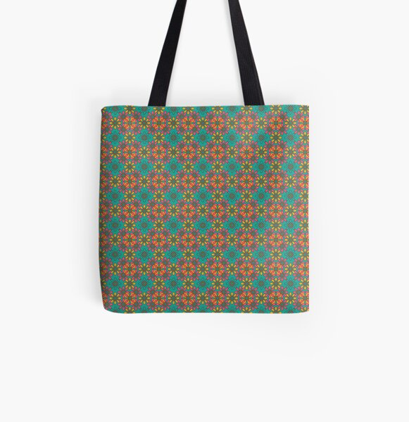 flower chain turquoise All Over Print Tote Bag