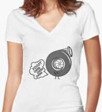 What does the turbo say? Women's Fitted V-Neck T-Shirt