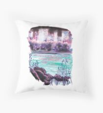 Manhattan in Bloom - Skyline from Central Park Throw Pillow