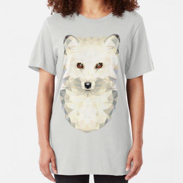 Low-poly Geometric Arctic Fox Slim Fit T-Shirt