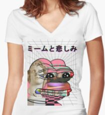 Memes and Sadness Fitted V-Neck T-Shirt