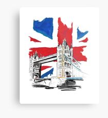 British Union Jack Flag - Tower Bridge, London Metal Print