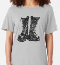 Leather Boot T shirt Slim Fit T-Shirt