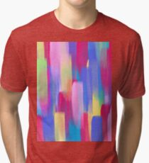 Vertical Watercolor Abstract Vivid Colorful Pop Tri-blend T-Shirt