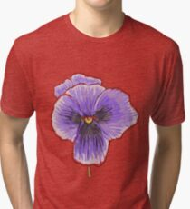 Dramatic Purple Pansy Design/Floral Art Tri-blend T-Shirt