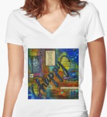 The HAPPY Artist Women's Fitted V-Neck T-Shirt