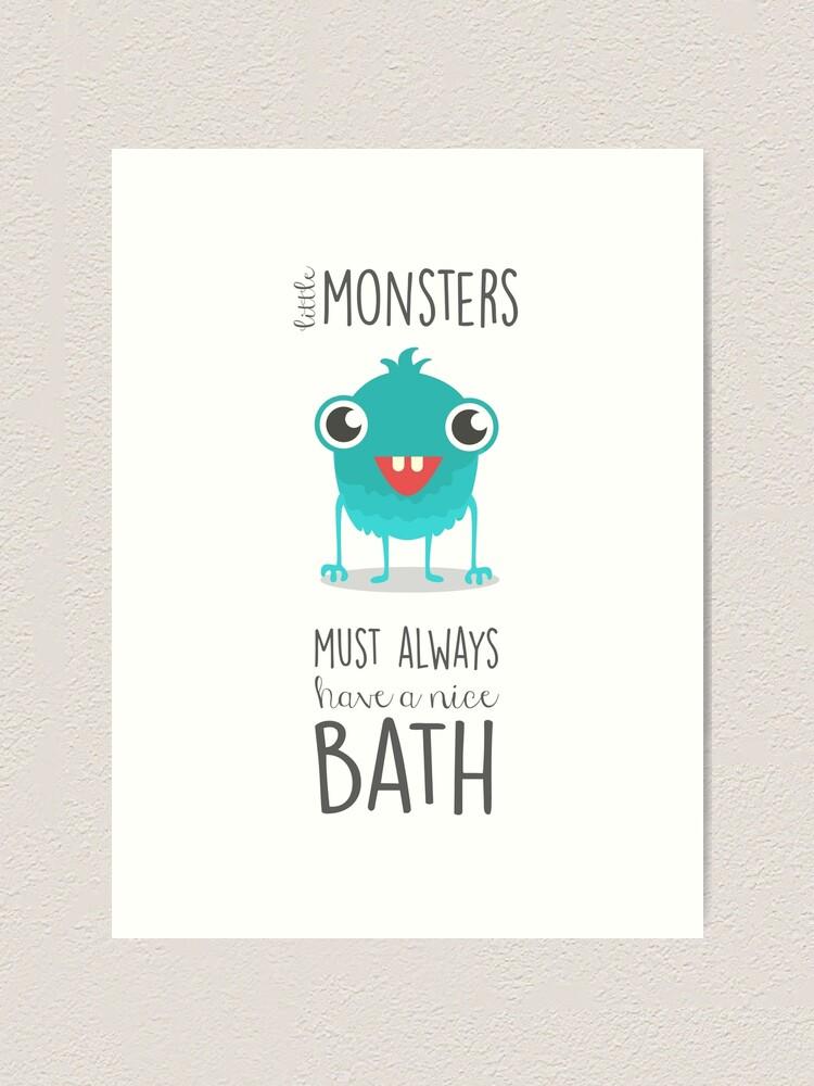 Bathroom Art Monsters Children S Art Bath Time Rules Art Print By Artisanobscure Redbubble
