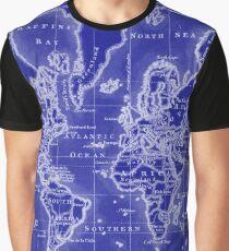 World Map (1766) Blue & White  Graphic T-Shirt