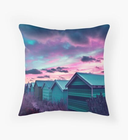 Brighton Beach Sunset Throw Pillow. Bath  Home Decor   Redbubble