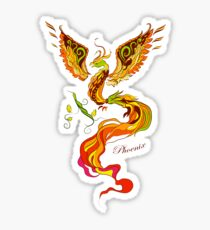 Phoenix vector illustartion in russian tradition style Sticker