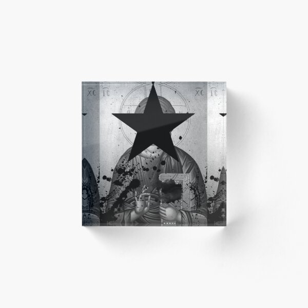 Jesus Vandalized Hagiography Blackstar  Acrylic Block