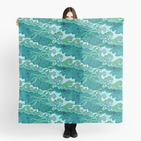 Fun Octopus swimming in a sea of green Scarf