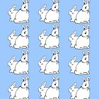 White Rabbits Pattern with Soft Blue by Abigail Davidson