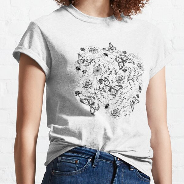 Black and white Butterflies and Bees Pattern Classic T-Shirt
