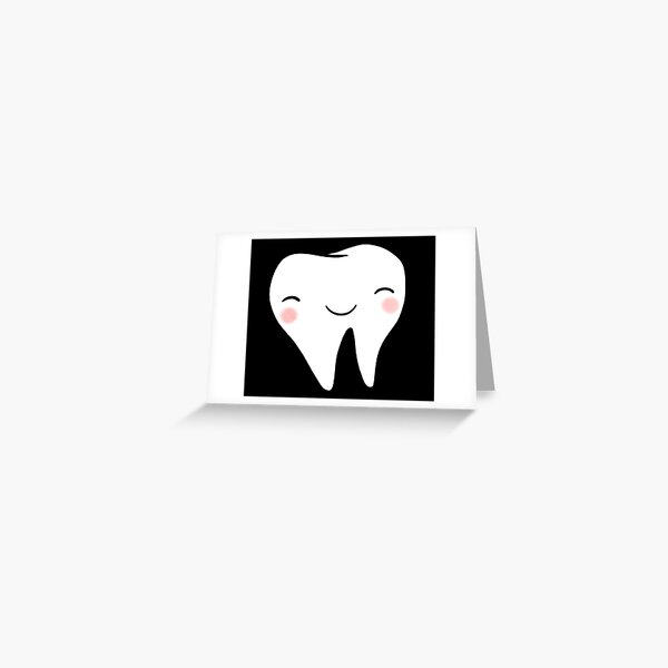 Happy Tooth (Black) Greeting Card