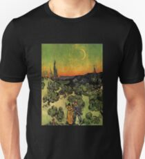 'Landscape with Couple Walking and Crescent Moon' by Vincent Van Gogh (Reproduction) T-Shirt