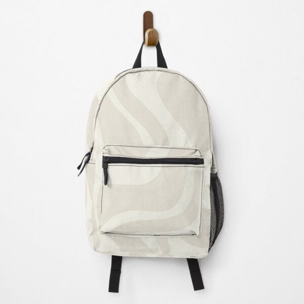 Liquid Swirl Contemporary Abstract Pattern in Barely-There Light Beige and Pale Cream Backpack