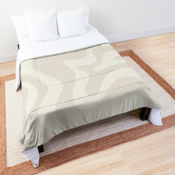Liquid Swirl Contemporary Abstract Pattern in Barely-There Light Beige and Pale Cream Comforter