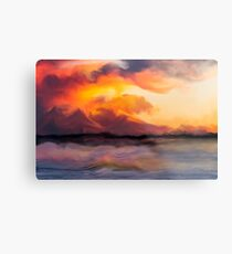 Sunset in the mountains Metal Print