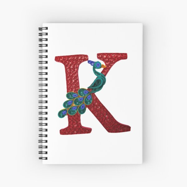 Paper Quilling K Monogram with Peacock Spiral Notebook