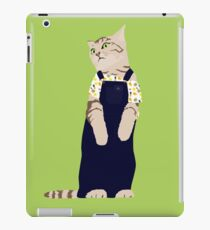 Fashion cat - In dungarees and a tropical bardot top iPad Case/Skin