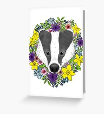 Spring Badger Greeting Card
