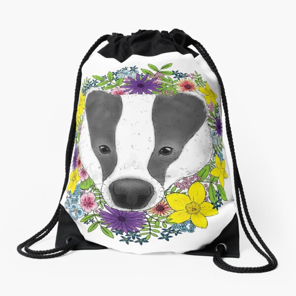 Spring Badger Drawstring Bag