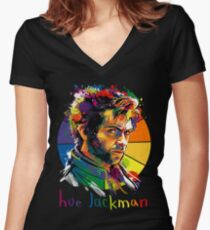 Hue Jackman Women's Fitted V-Neck T-Shirt