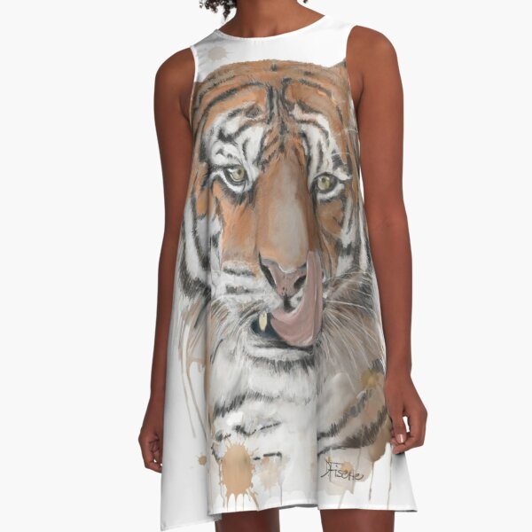 Tiger Graphite and Watercolor A-Line Dress