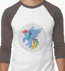 Rainbow Dash Abstract 2 (White + Oil Paint) Men's Baseball ¾ T-Shirt