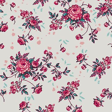 Pixel Floral - Arrangement in Pink (light) by theCatghost