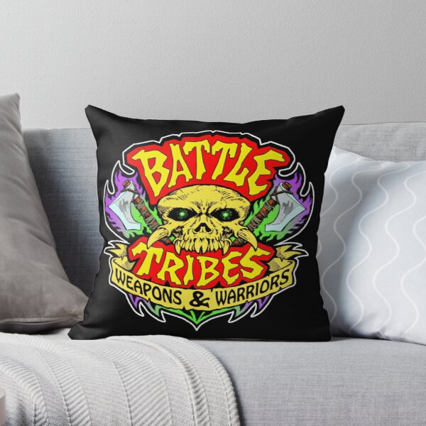 Battle Tribes Skull Logo Throw Pillow