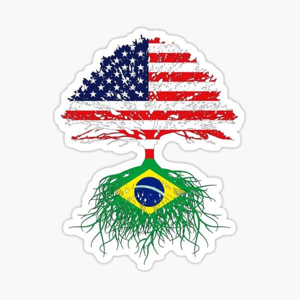 Brazil Brasil Roots, Brazilian American Immigrant, Brazil Grown,  Brazil USA Flag, Gift Present For Men Women Kids Youth Family Sticker