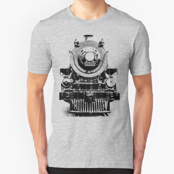 Vintage steam train illustration Slim Fit T-Shirt