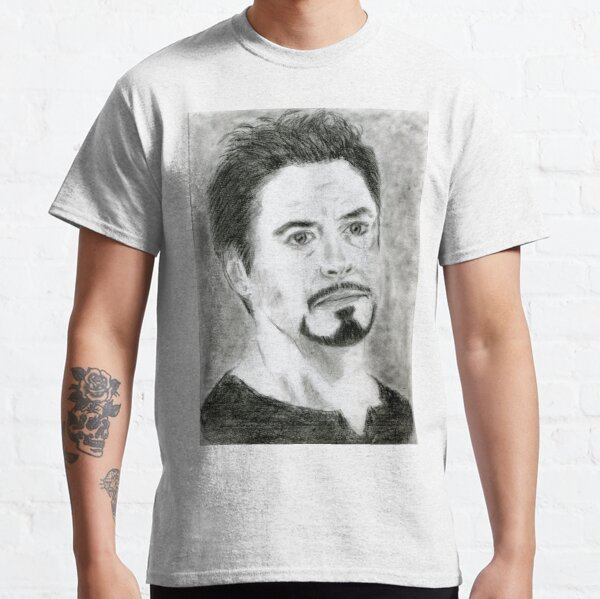 Realistic Robert Downey jr Drawing Art -- RDJ Graphite Pencil Classic T-Shirt
