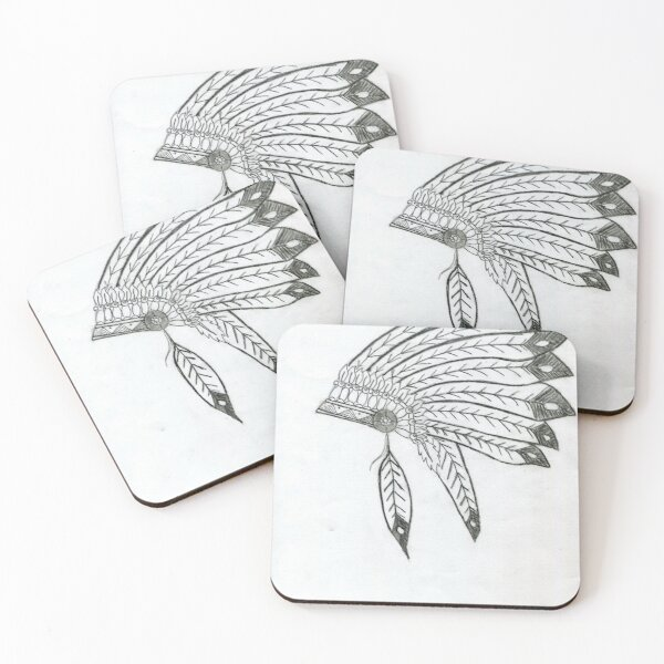 Realistic Indian Headdress Drawing Art -- Indian Hat Graphite Pencil Coasters (Set of 4)