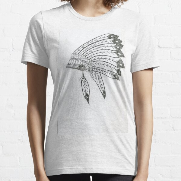 Realistic Indian Headdress Drawing Art -- Indian Hat Graphite Pencil Essential T-Shirt