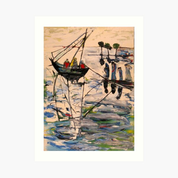 Boats on the river in Fellucca Art Print
