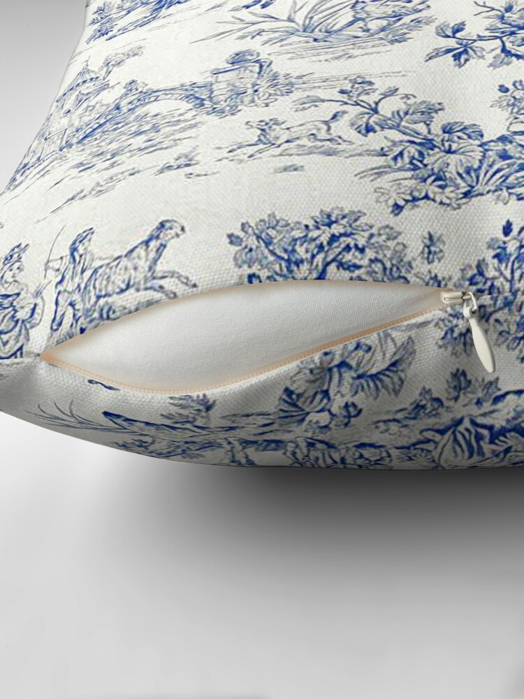 Alternate view of Beautiful Blue French Toile Throw Pillow