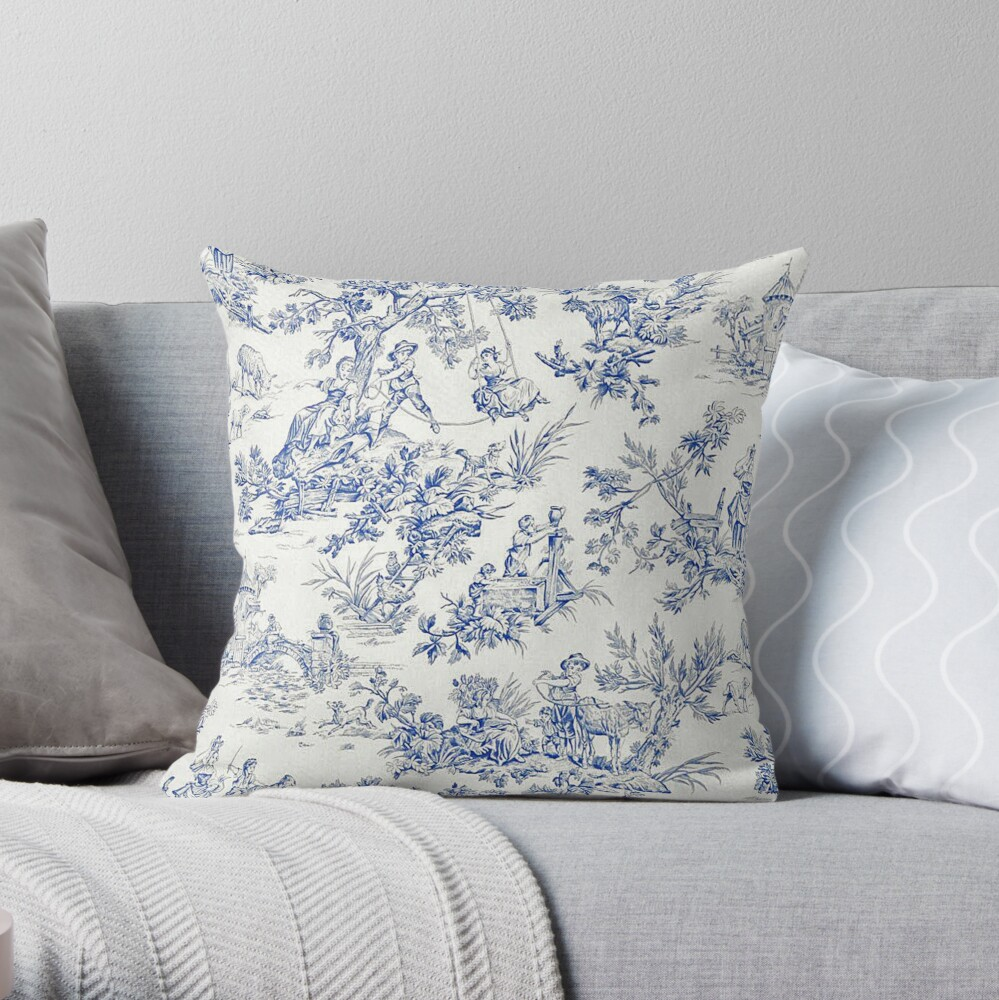 Beautiful Blue French Toile Throw Pillow