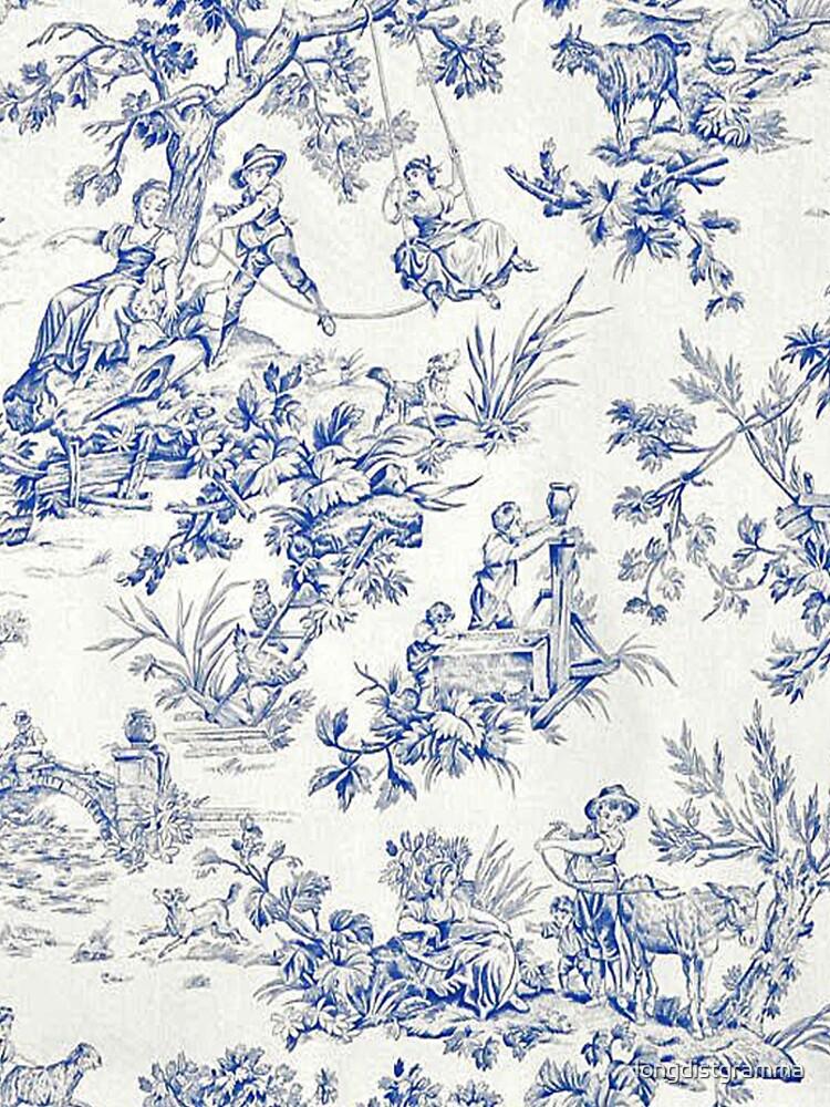 Beautiful Blue French Toile by longdistgramma
