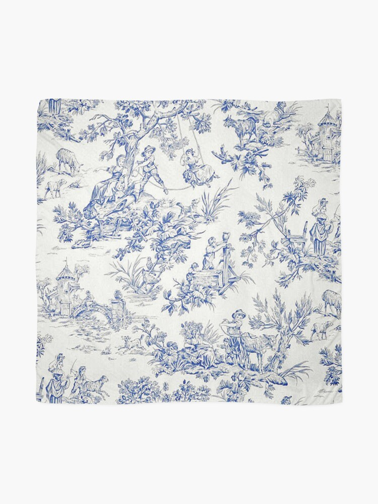 Alternate view of Beautiful Blue French Toile Scarf