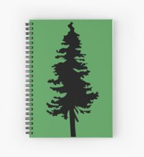 Plain Black Tree | Doug Fir/Pine/Evergreen Spiral Notebook