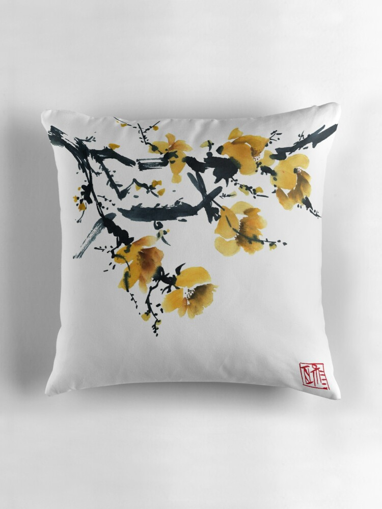 Quot Yellow Plum Tree Quot Throw Pillows By Tarakanova Redbubble