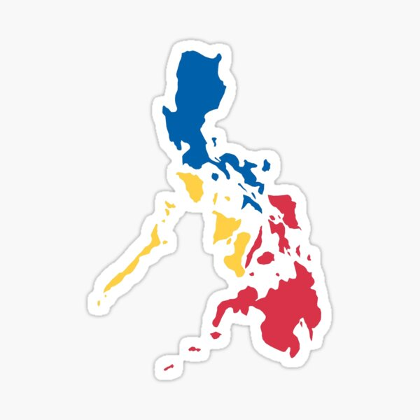 Philippines Filipino Map Sun and Stars Flag Sticker