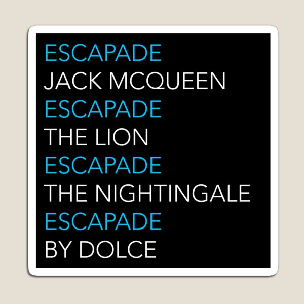 ESCAPADE by DOLCE - Blue and white text pattern Magnet