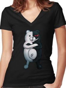 Monokuma - Danganronpa  Women's Fitted V-Neck T-Shirt